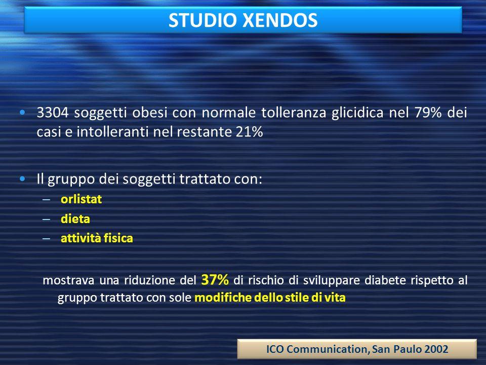 STUDIO XENDOS 3304 soggetti obesi con normale tolleranza glicidica nel 79% dei casi e intolleranti nel restante 21%