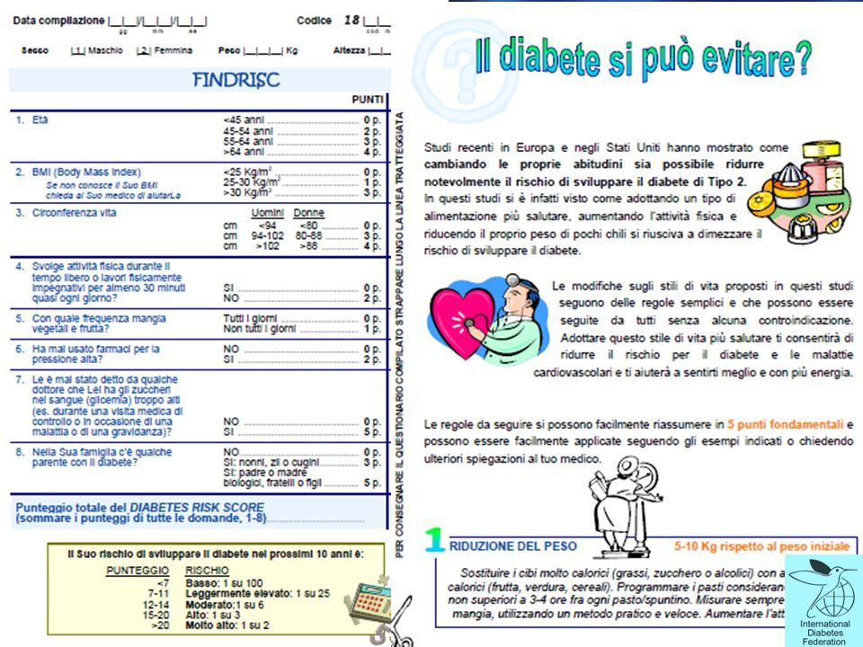 Semplice, pratico, metodi non invasivi e poco costosi sono necessari per identificare gli individui ad alto rischio di IGT e diabete e per limitare la percentuale di popolazione che necessita di diagnosi test di tolleranza al glucosio.