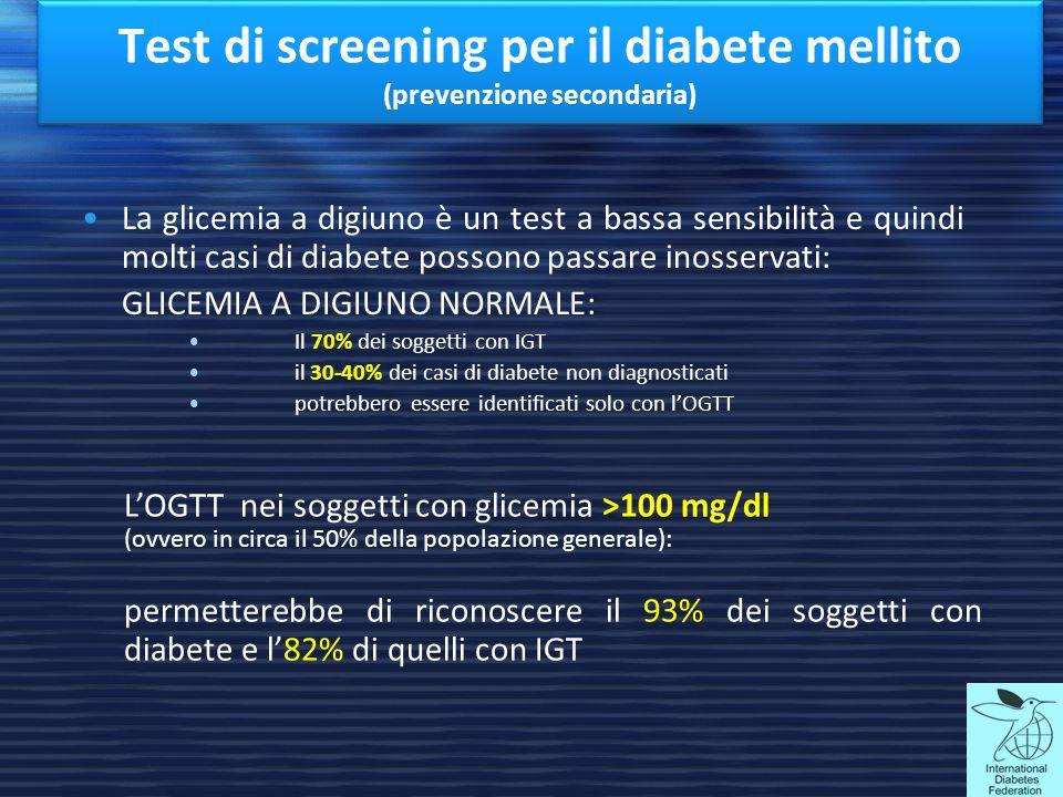 Test di screening per il diabete mellito (prevenzione secondaria)