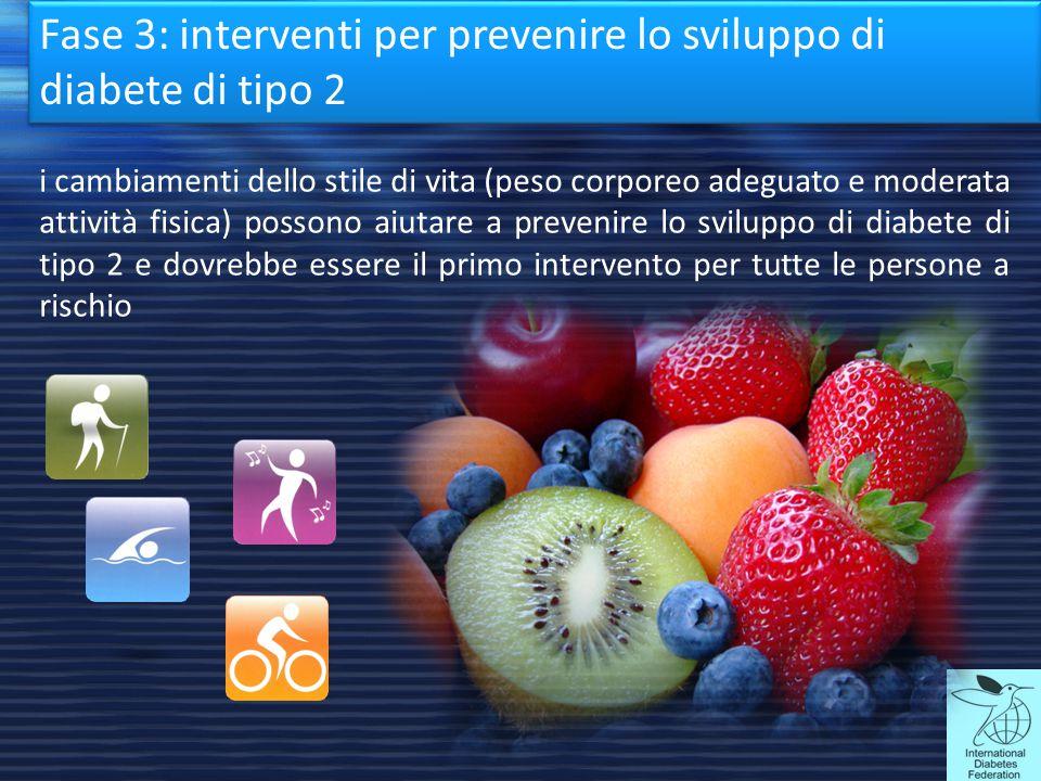 Fase 3: interventi per prevenire lo sviluppo di diabete di tipo 2