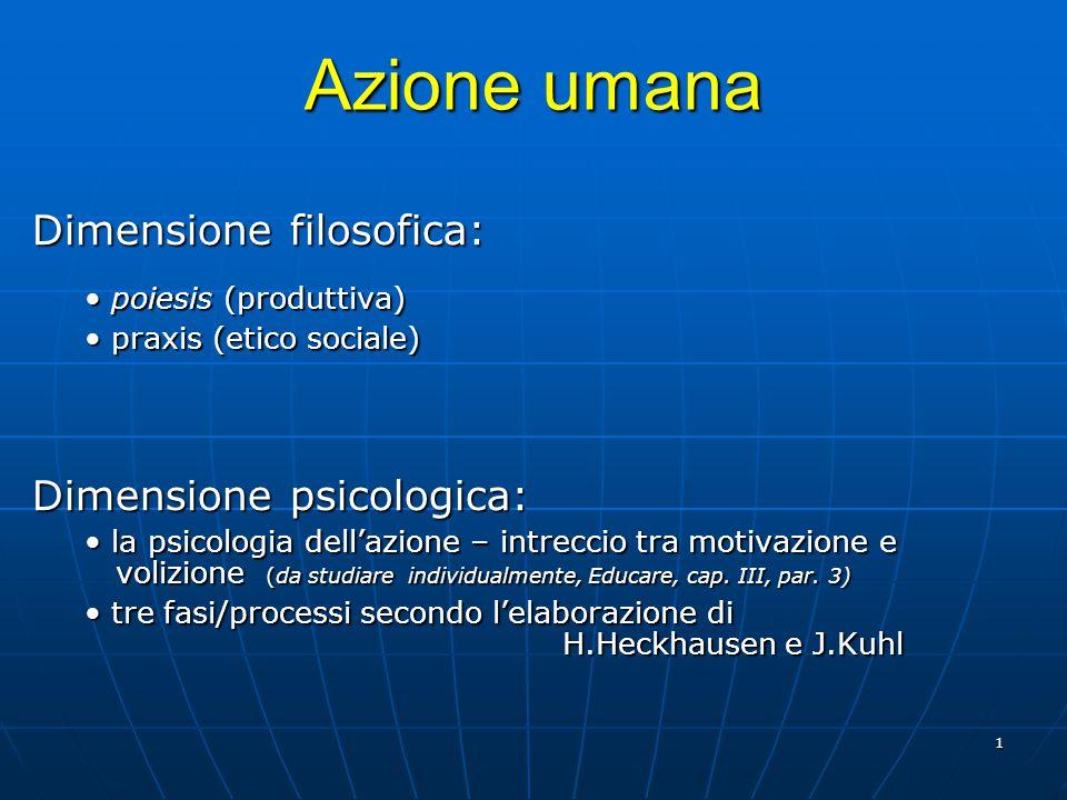 Azione umana Dimensione filosofica: Dimensione psicologica: