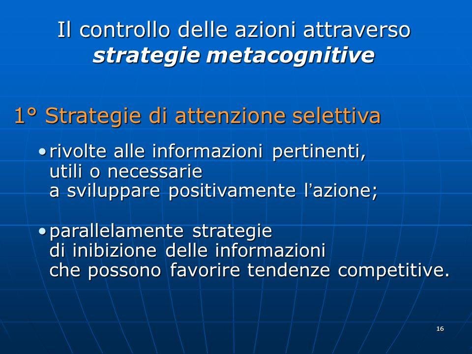 Il controllo delle azioni attraverso strategie metacognitive