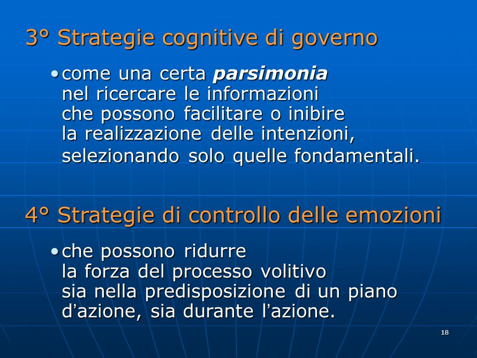 3° Strategie cognitive di governo