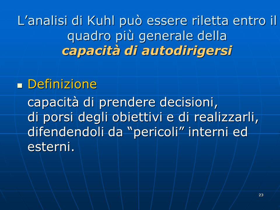 L'analisi di Kuhl può essere riletta entro il quadro più generale della capacità di autodirigersi