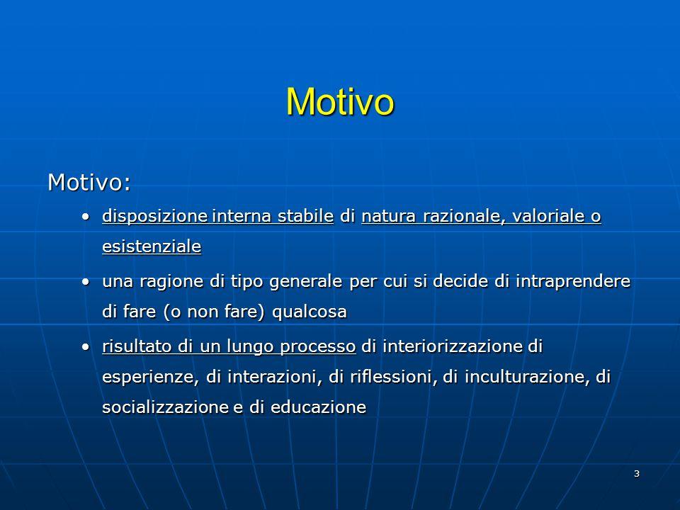 Motivo Motivo: disposizione interna stabile di natura razionale, valoriale o esistenziale.