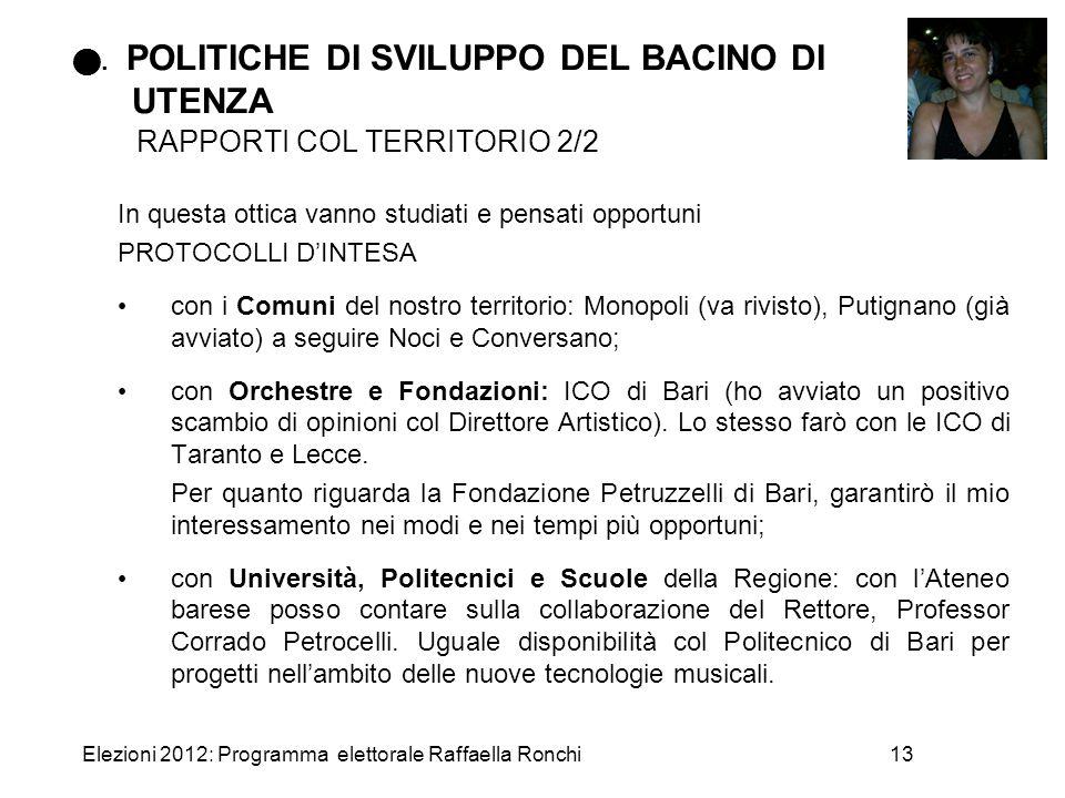 . POLITICHE DI SVILUPPO DEL BACINO DI UTENZA RAPPORTI COL TERRITORIO 2/2