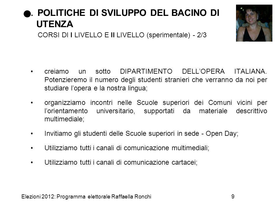 . POLITICHE DI SVILUPPO DEL BACINO DI UTENZA CORSI DI I LIVELLO E II LIVELLO (sperimentale) - 2/3