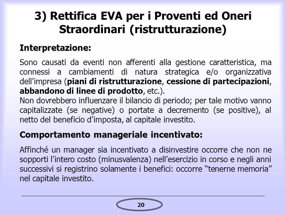 3) Rettifica EVA per i Proventi ed Oneri Straordinari (ristrutturazione)