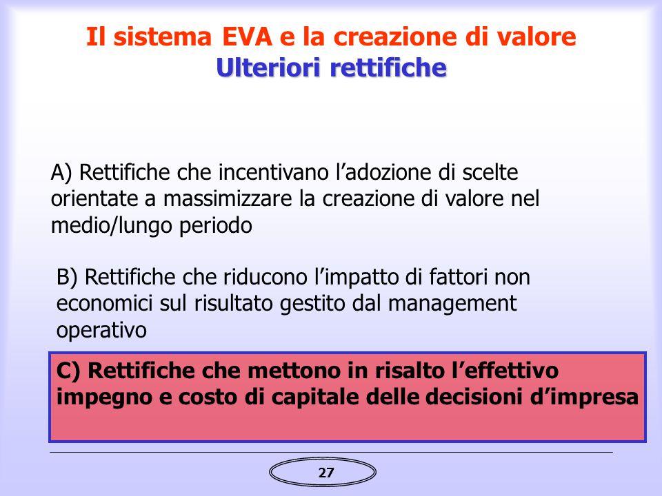 Il sistema EVA e la creazione di valore Ulteriori rettifiche