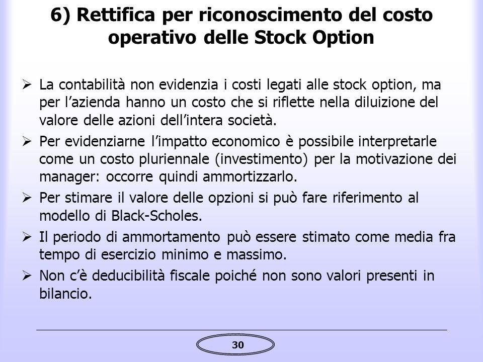 6) Rettifica per riconoscimento del costo operativo delle Stock Option
