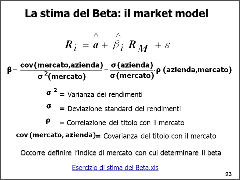 La stima del Beta: il market model