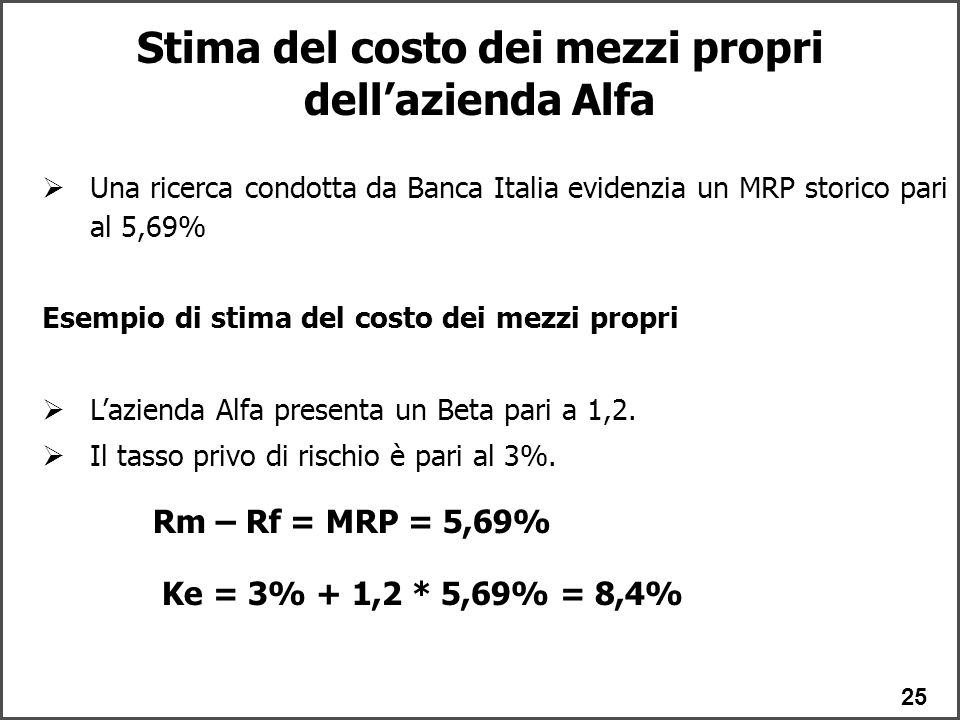 Stima del costo dei mezzi propri dell'azienda Alfa