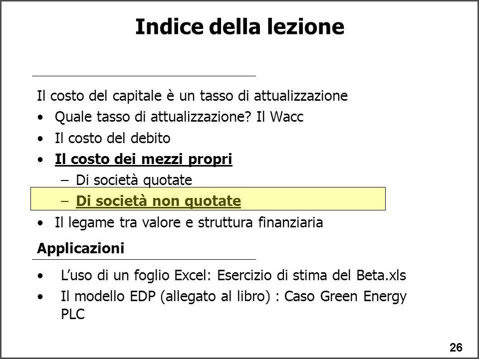 Indice della lezione Il costo del capitale è un tasso di attualizzazione. Quale tasso di attualizzazione Il Wacc.