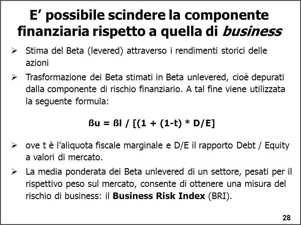 E' possibile scindere la componente finanziaria rispetto a quella di business