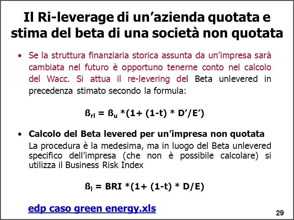 ßrl = ßu *(1+ (1-t) * D'/E') edp caso green energy.xls