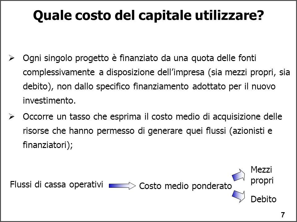 Quale costo del capitale utilizzare