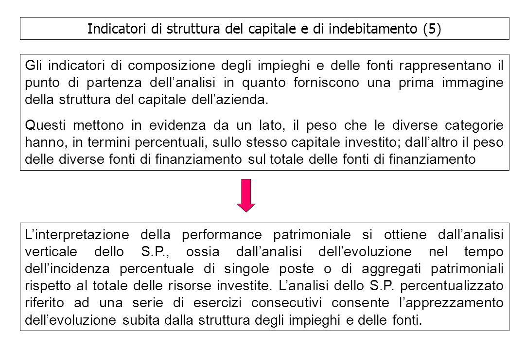 Indicatori di struttura del capitale e di indebitamento (5)