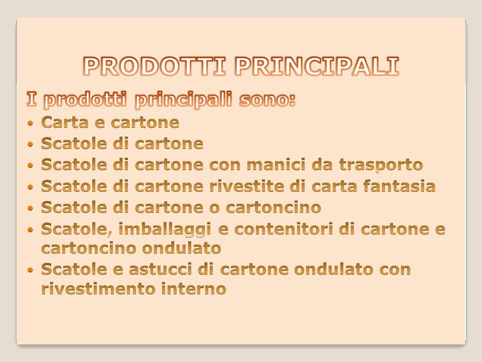 PRODOTTI PRINCIPALI I prodotti principali sono: Carta e cartone