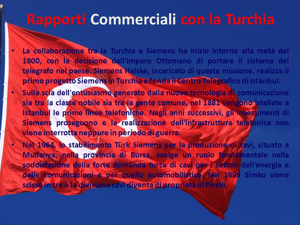 Rapporti Commerciali con la Turchia