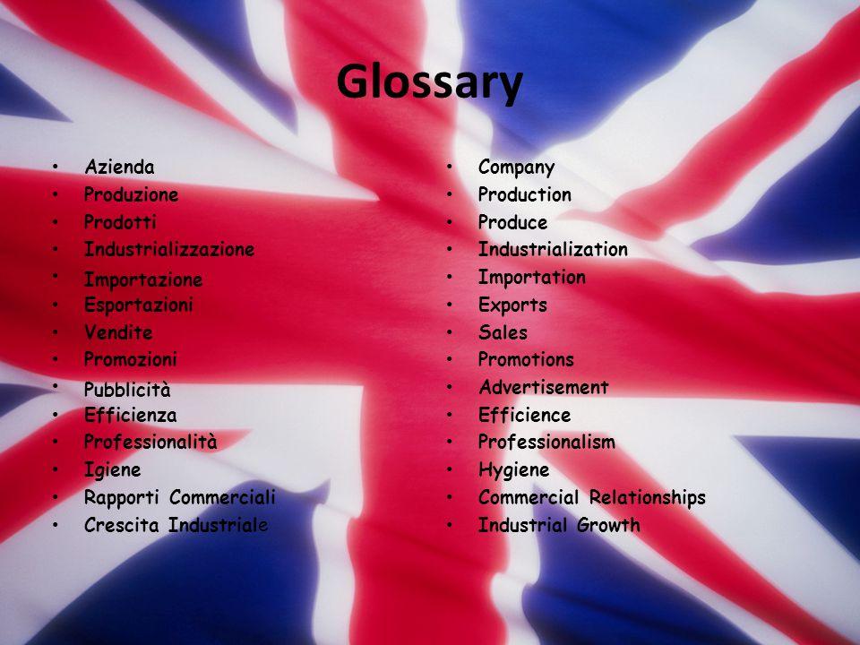 Glossary Azienda Produzione Prodotti Industrializzazione Importazione