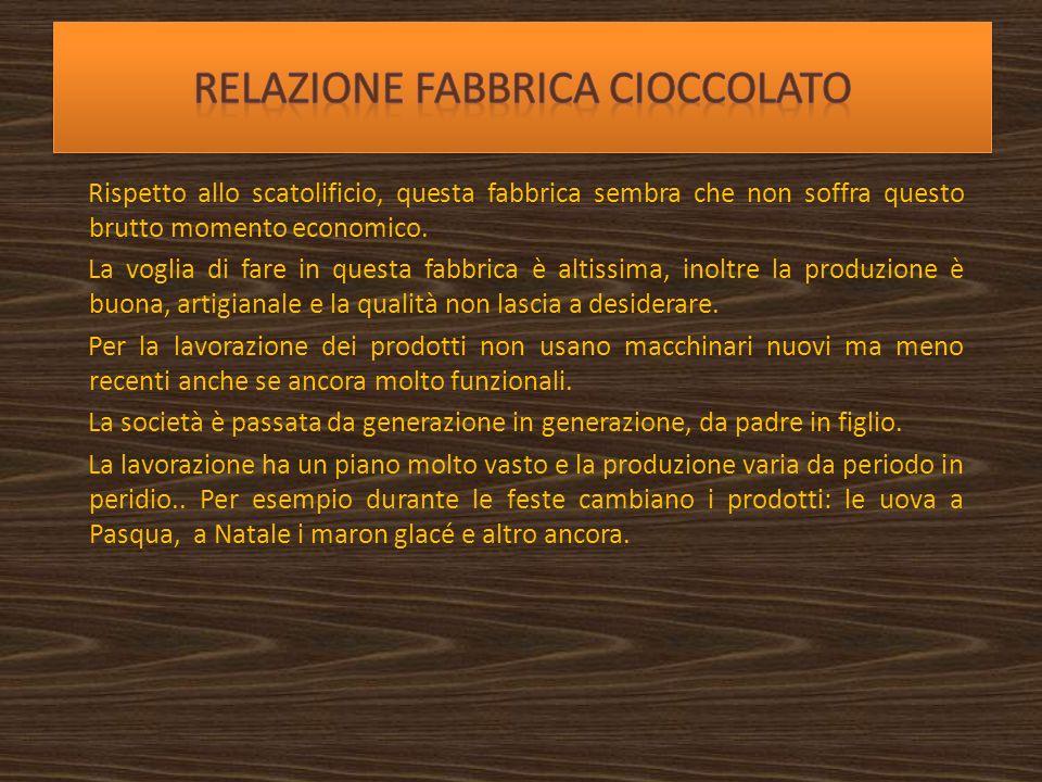 Relazione fabbrica cioccolato
