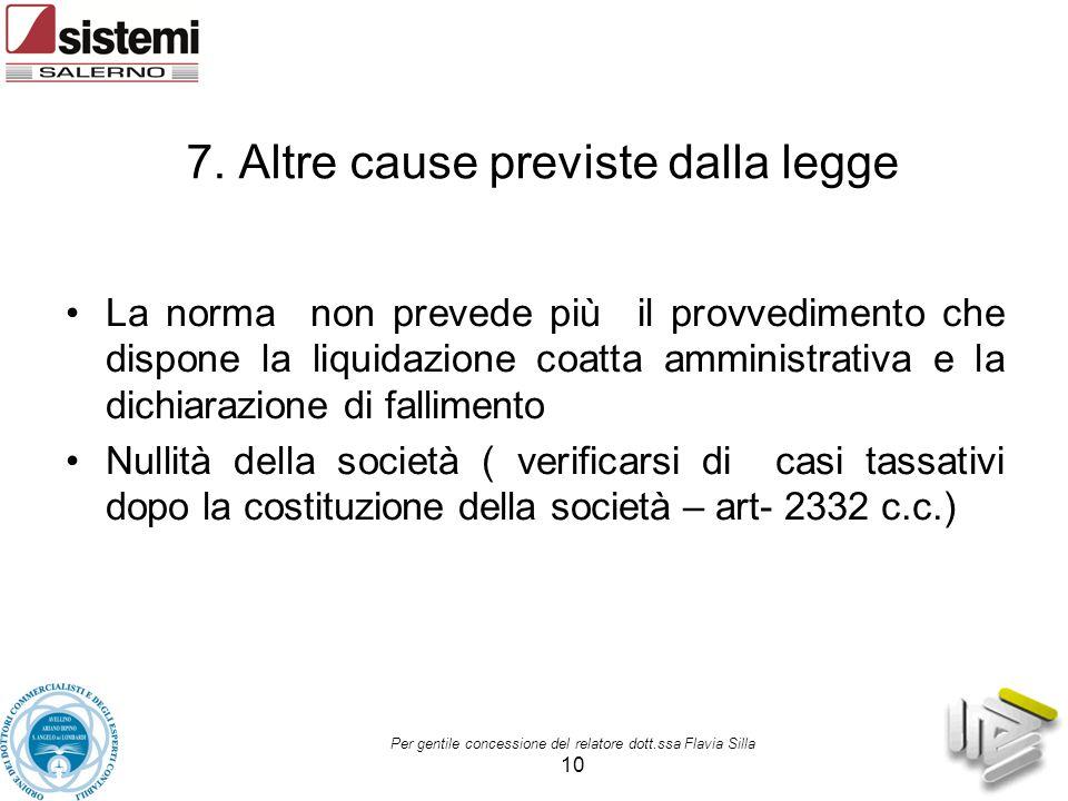 7. Altre cause previste dalla legge