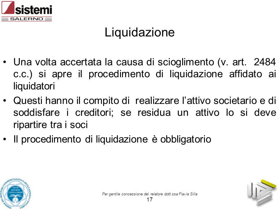 Liquidazione Una volta accertata la causa di scioglimento (v. art. 2484 c.c.) si apre il procedimento di liquidazione affidato ai liquidatori.