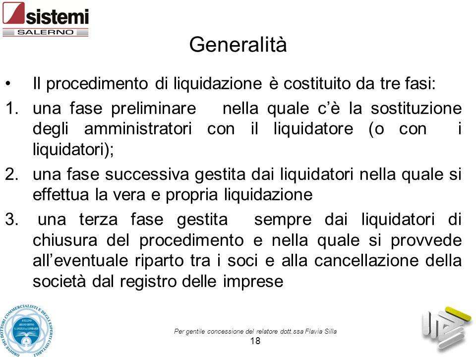 Generalità Il procedimento di liquidazione è costituito da tre fasi: