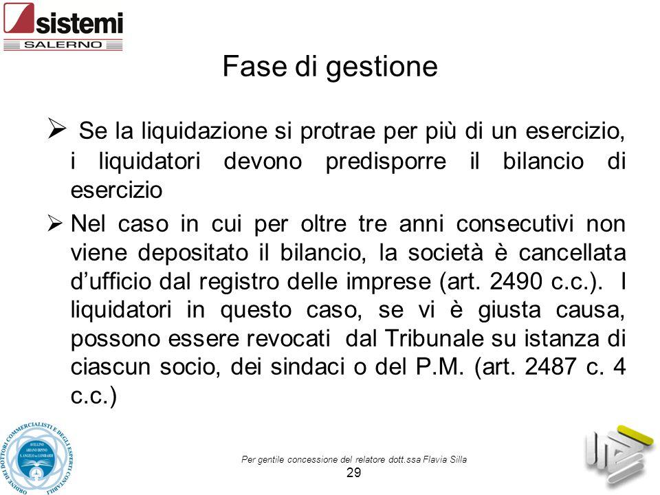 Fase di gestione Se la liquidazione si protrae per più di un esercizio, i liquidatori devono predisporre il bilancio di esercizio.