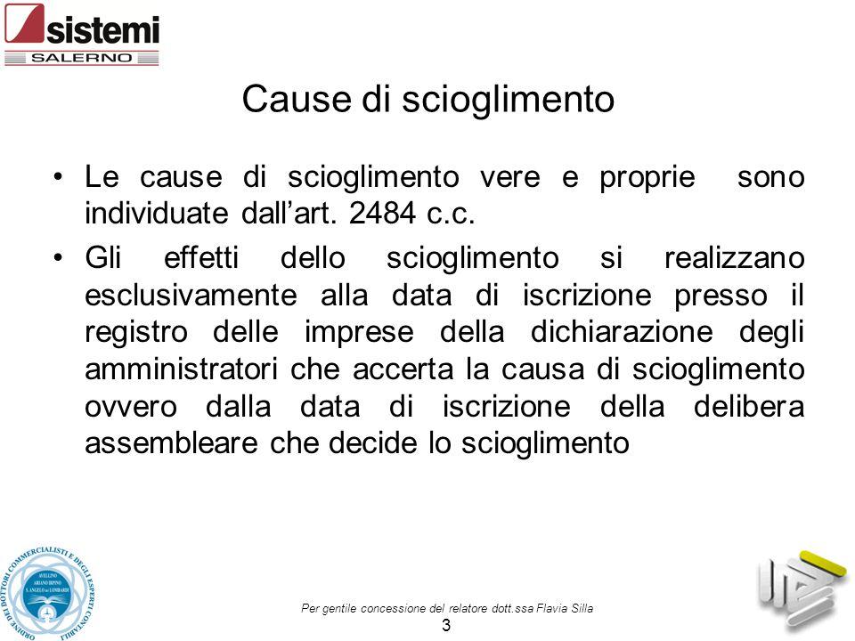 Cause di scioglimento Le cause di scioglimento vere e proprie sono individuate dall'art. 2484 c.c.