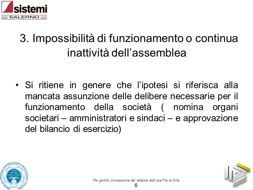 3. Impossibilità di funzionamento o continua inattività dell'assemblea