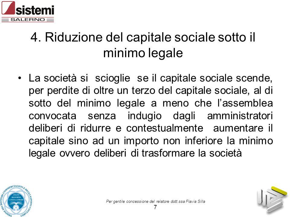 4. Riduzione del capitale sociale sotto il minimo legale