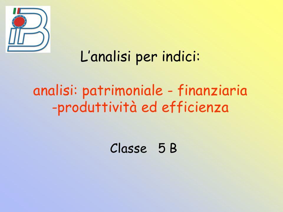 L'analisi per indici: analisi: patrimoniale - finanziaria -produttività ed efficienza