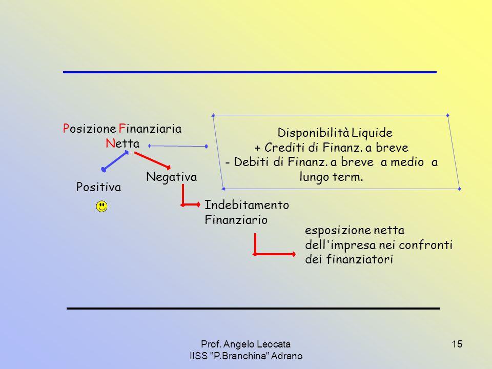 Posizione Finanziaria Netta Disponibilità Liquide