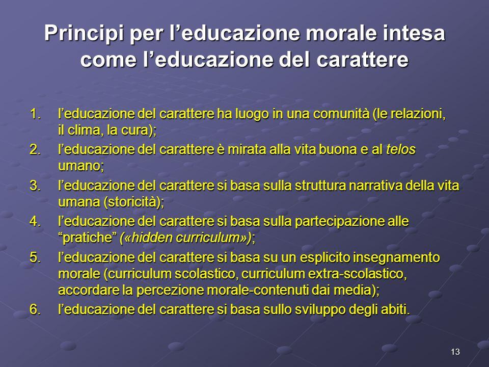 Principi per l'educazione morale intesa come l'educazione del carattere