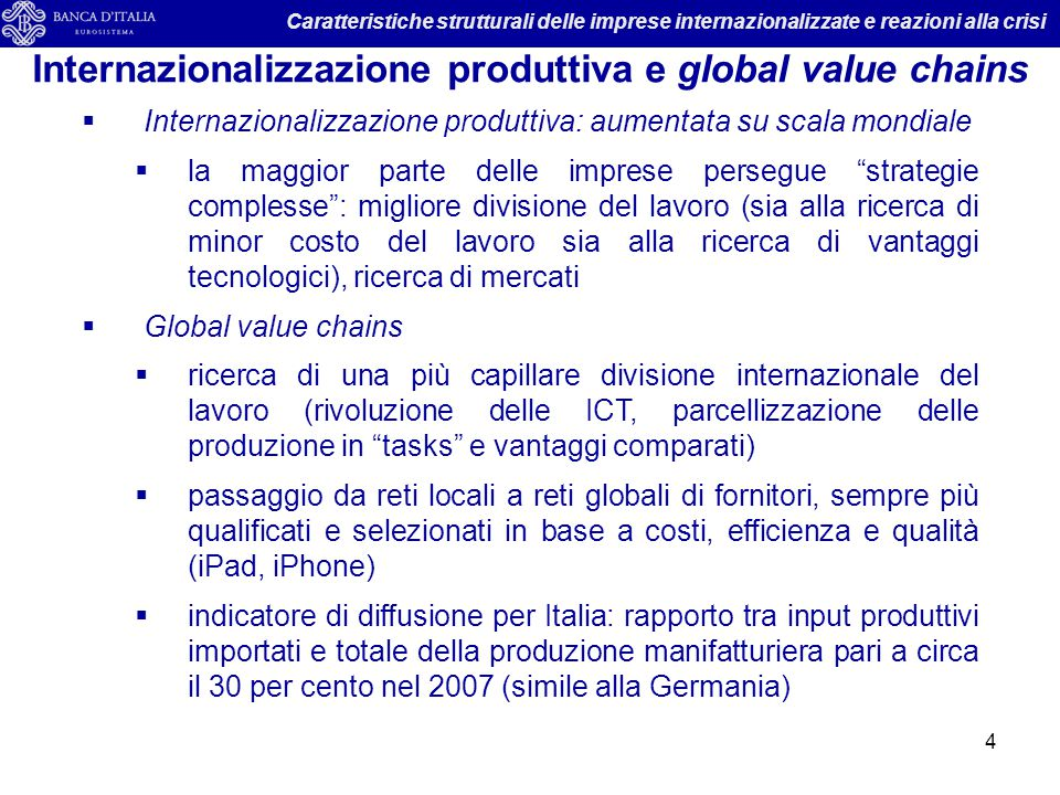 Internazionalizzazione produttiva e global value chains