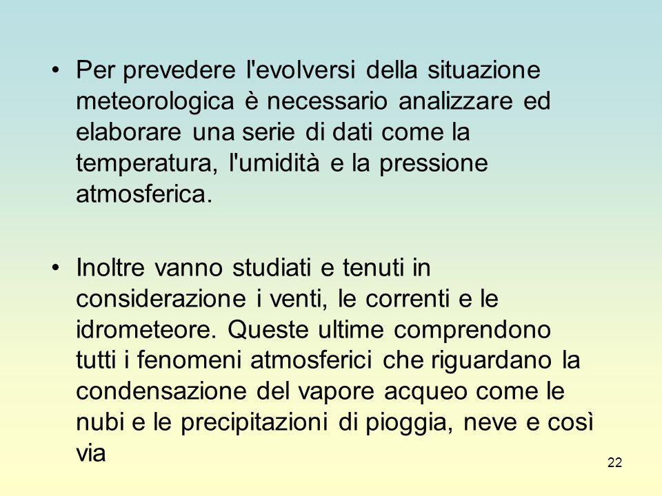 Per prevedere l evolversi della situazione meteorologica è necessario analizzare ed elaborare una serie di dati come la temperatura, l umidità e la pressione atmosferica.