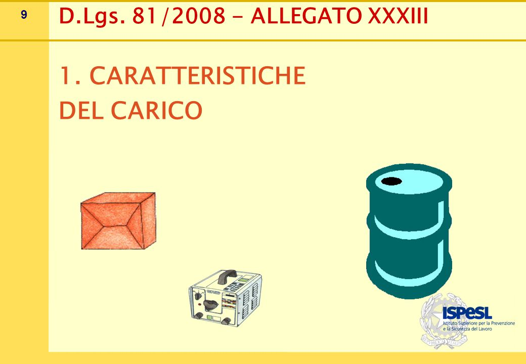 1. Caratteristiche del carico
