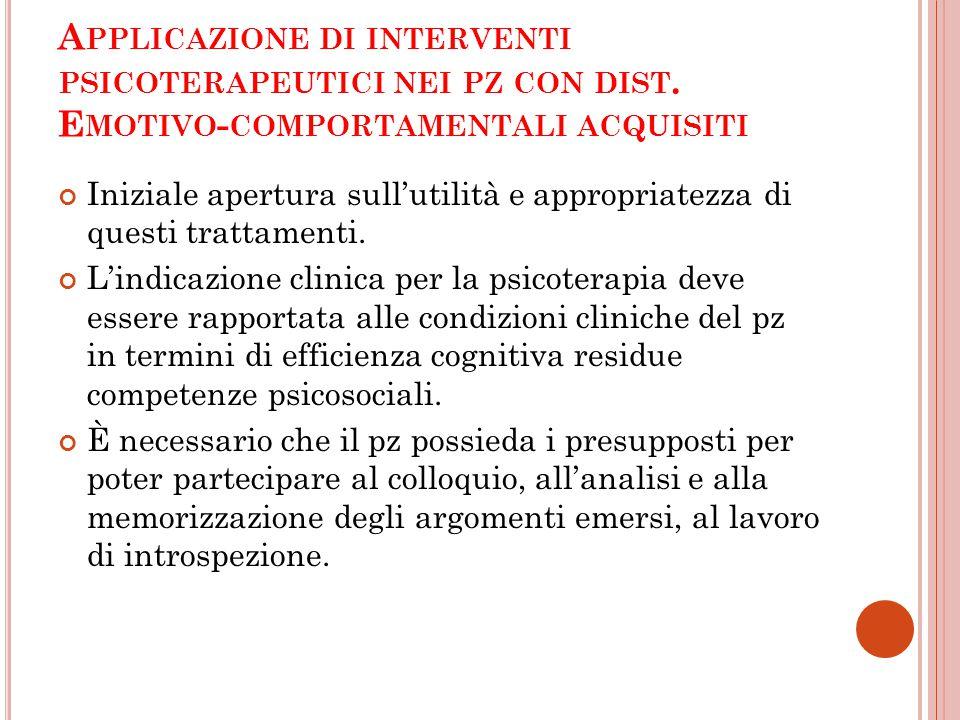 Applicazione di interventi psicoterapeutici nei pz con dist