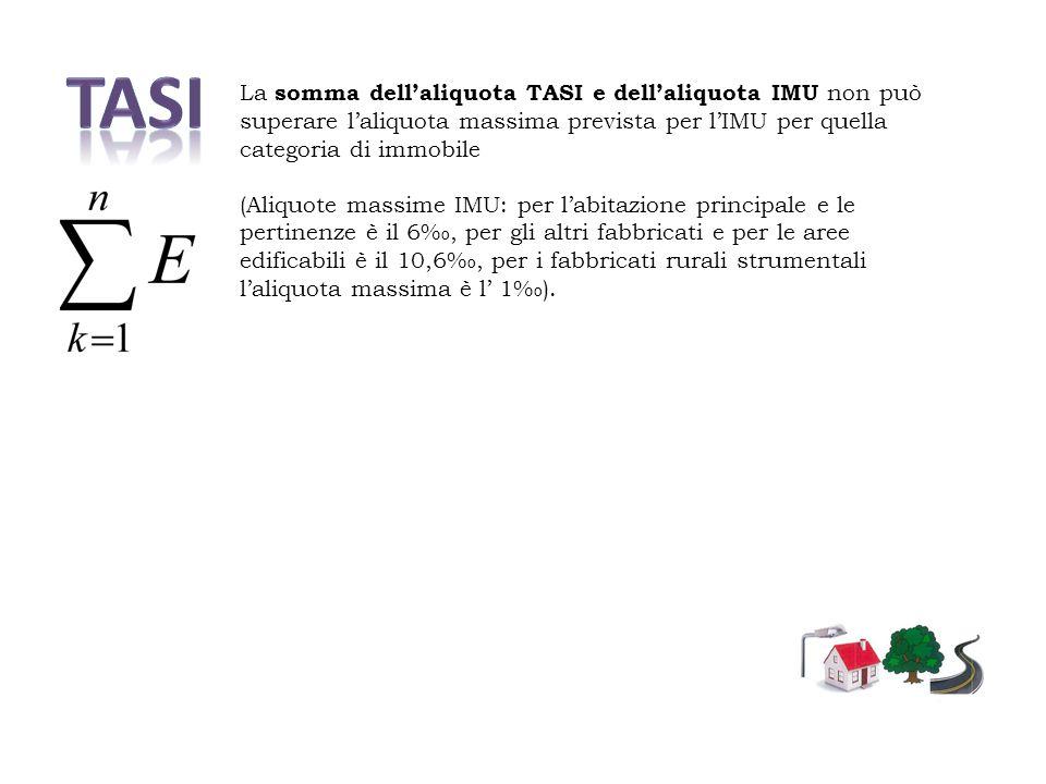 TASI La somma dell'aliquota TASI e dell'aliquota IMU non può superare l'aliquota massima prevista per l'IMU per quella categoria di immobile.