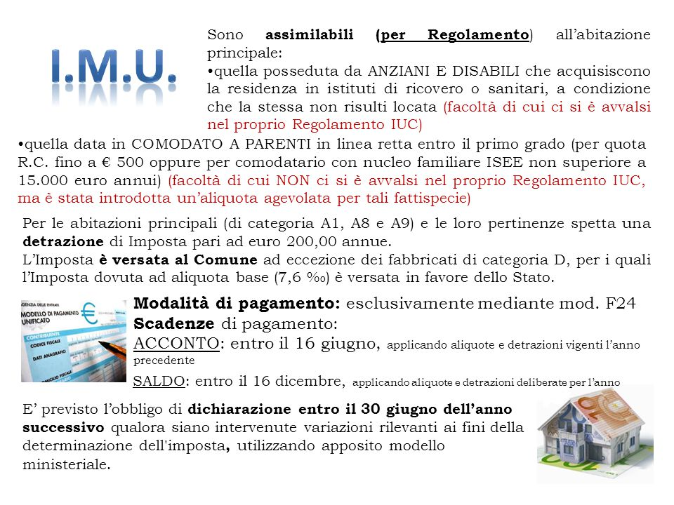 I.M.U. Modalità di pagamento: esclusivamente mediante mod. F24