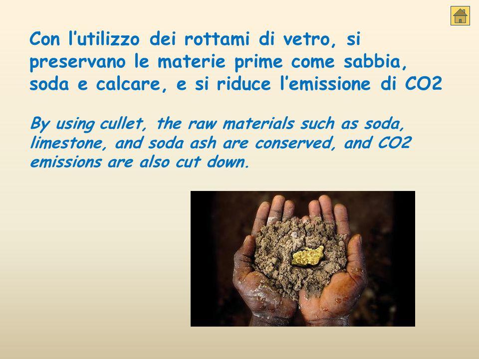Con l'utilizzo dei rottami di vetro, si preservano le materie prime come sabbia, soda e calcare, e si riduce l'emissione di CO2