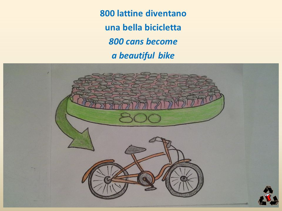 800 lattine diventano una bella bicicletta 800 cans become a beautiful bike
