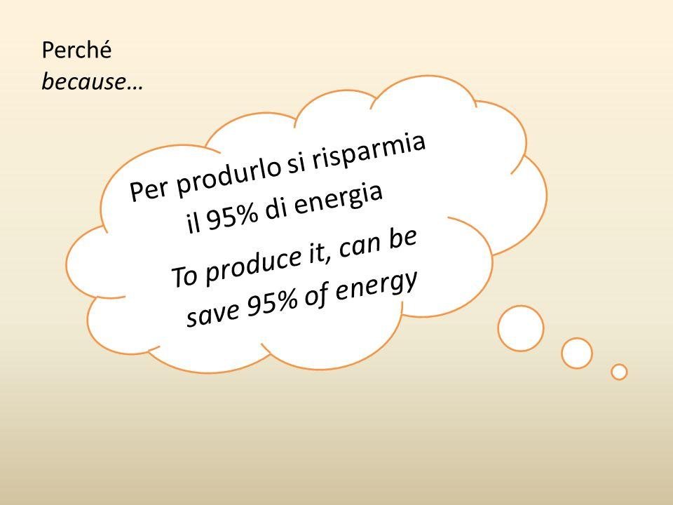 Per produrlo si risparmia il 95% di energia