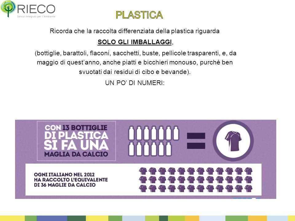 Ricorda che la raccolta differenziata della plastica riguarda