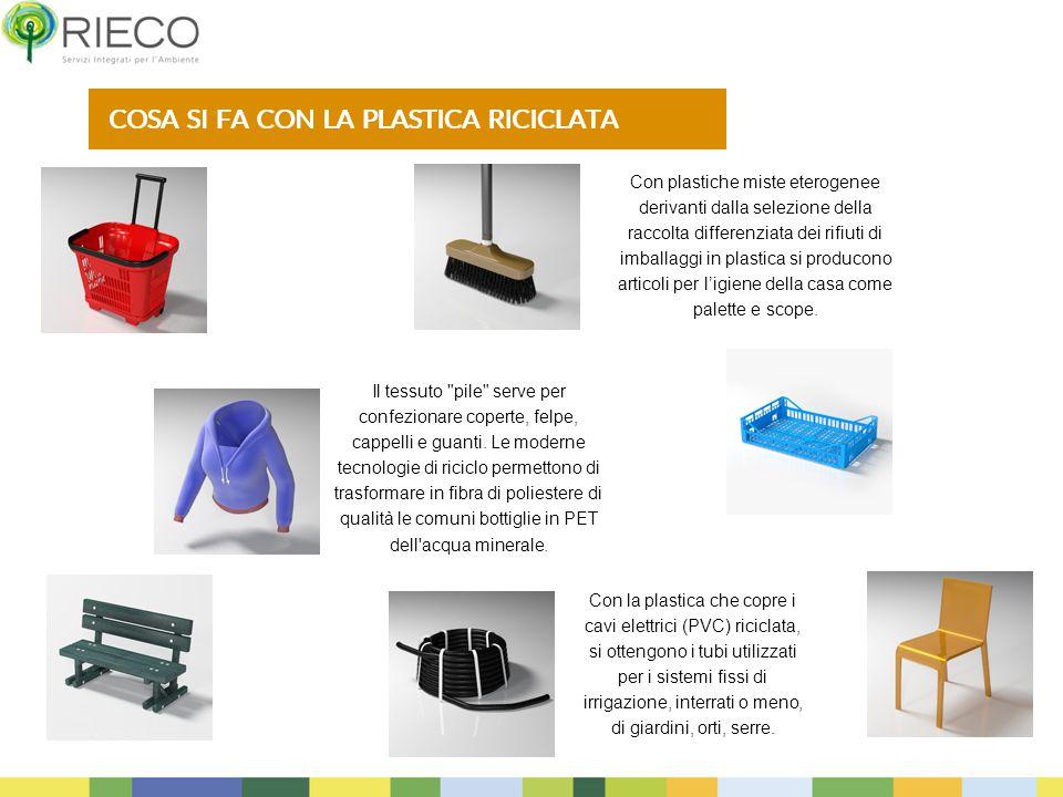 Con plastiche miste eterogenee derivanti dalla selezione della raccolta differenziata dei rifiuti di imballaggi in plastica si producono articoli per l'igiene della casa come palette e scope.