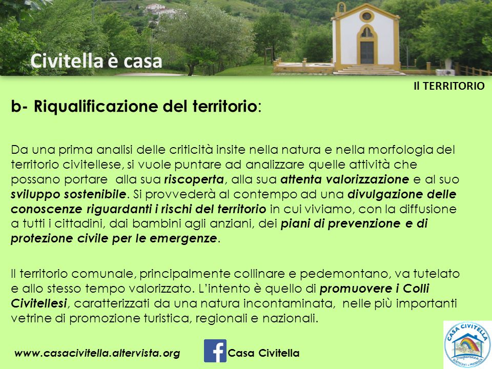 Civitella è casa b- Riqualificazione del territorio: Il TERRITORIO