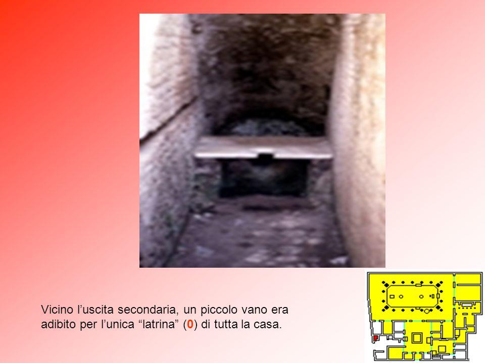 Vicino l'uscita secondaria, un piccolo vano era adibito per l'unica latrina (0) di tutta la casa.