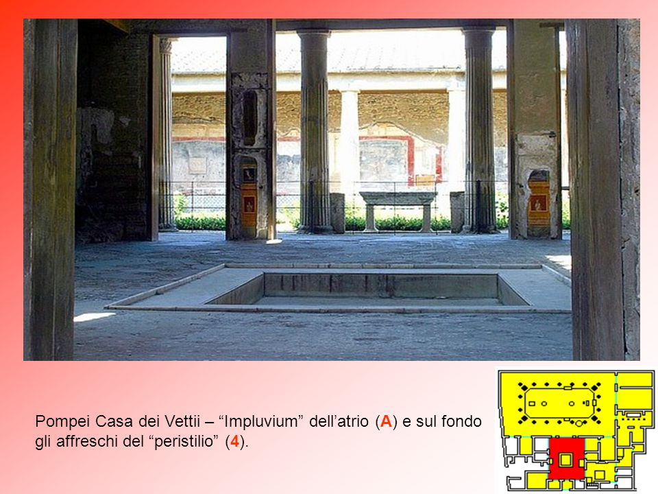 Pompei Casa dei Vettii – Impluvium dell'atrio (A) e sul fondo gli affreschi del peristilio (4).
