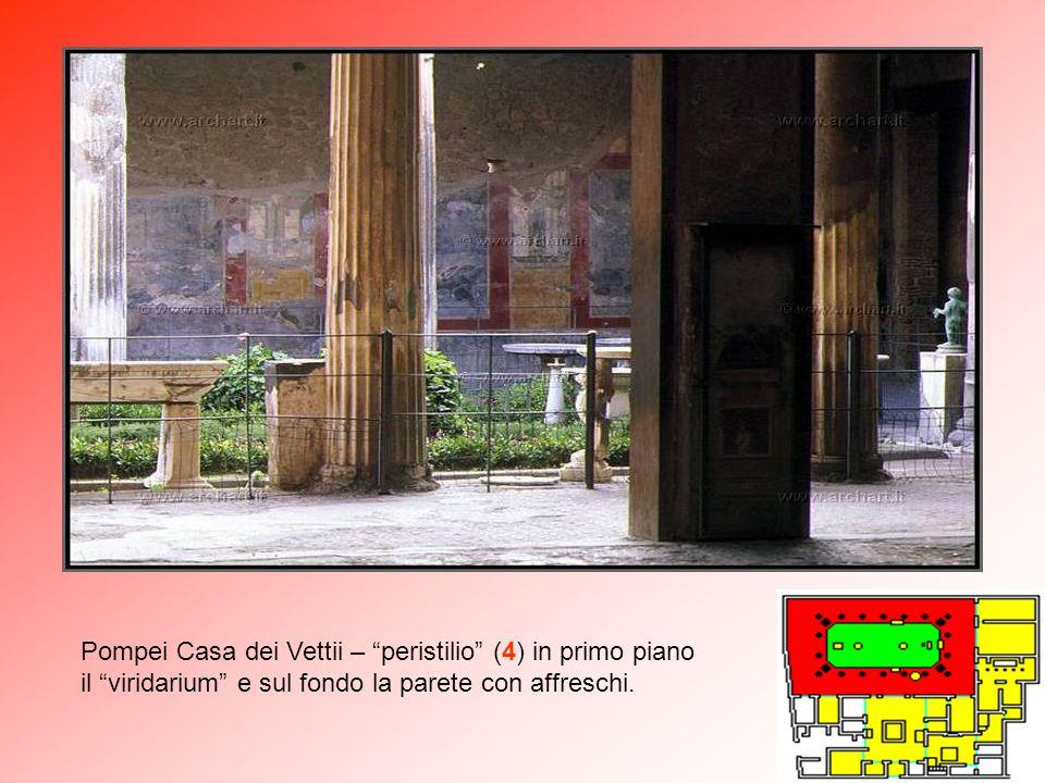 Pompei Casa dei Vettii – peristilio (4) in primo piano il viridarium e sul fondo la parete con affreschi.